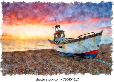 Water colour painting of sunrise over an old fishing boat on the beach at Dungeness on the Kent coast