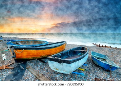 Water colour painting of sunrise over boats on the beach at Selsey in West Sussex