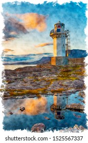 Water colour painting of sunset at Rhue Lighthouse at Ullapool in the far north west of Scotland