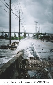 Water coming over the streets in Kemah during Hurricane Harvey