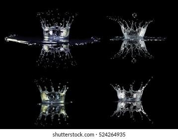 Water crown splash in black