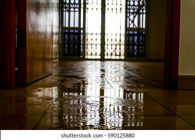 Water damage inside a house