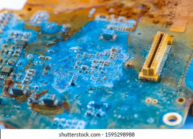 Water damaged electronic PCB board from a industrial device, showing the effects of the gadget after underwater use.