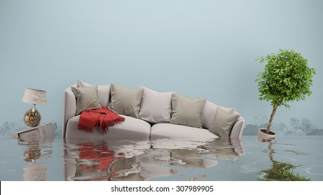 Water damager after flooding in house with furniture floating (3D Rendering)