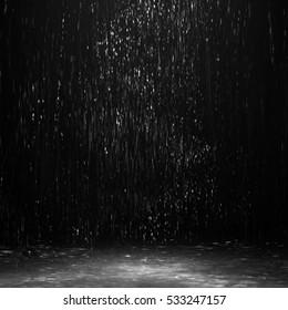 water in the dark, rain at night in the street, night rain