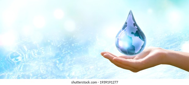 Water Day or World Oceans Day concept. Environmental conservation and Climate literacy, save, protect clean planet Earth and ecology, sustainable lifestyle. Drop in human hand on pure sea background.