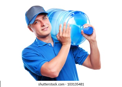 Water delivery courier with a bottle on his shoulder