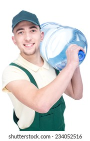 Water delivery courier is holding a bottle on his shoulder.