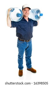 Water delivery man carrying two full five gallon jugs on his shoulders.  Full body isolated on white.