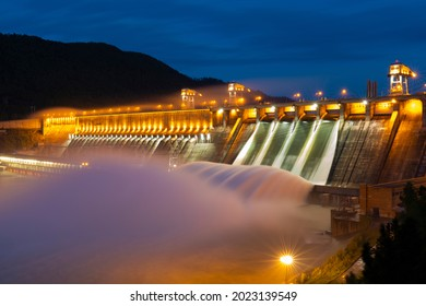 Water discharge at the Krasnoyarsk hydroelectric power station