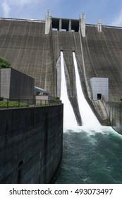 water discharge at Miyagase dam