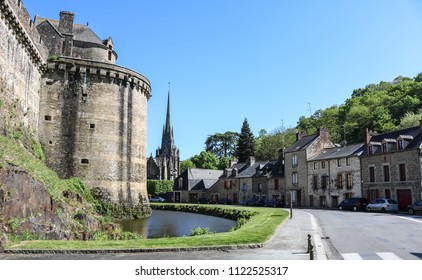 Water ditch along the walls of the fortified city of Fougeres, Brittany region, France.