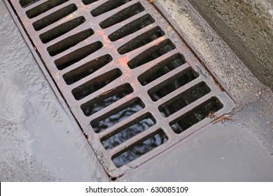 Water drain close up