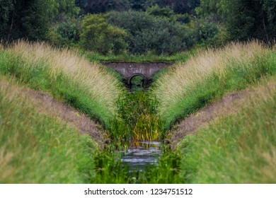 A water drainage ditch