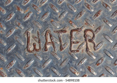 Water Drainage Sign on Diamond Plate