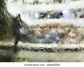 water dripping down on a glass wall with bokeh and blurry of human.