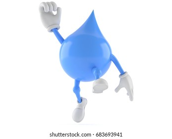 Water drop character jumping on white background. 3d illustration
