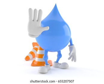 Water drop character with traffic cone isolated on white background. 3d illustration