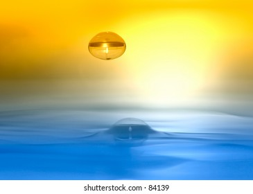 Water drop descending onto silky smooth water surface, duotone by filter