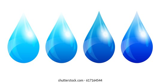 Water Drop, Water Droplet, Four Color Versions - Raster Version