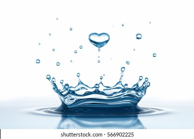 Water drop in form of heart. 3D illustration