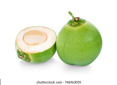 water drop green coconut isolated on white background