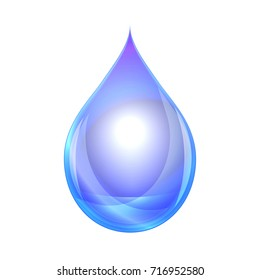 Water drop isolated on white background. Illustration