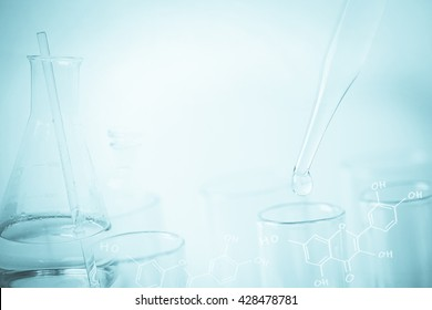 water drop and laboratory for natural chemistry concept