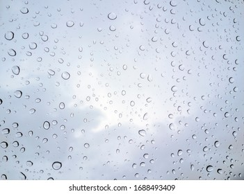 Water Drop on Glass With Cloudy Background