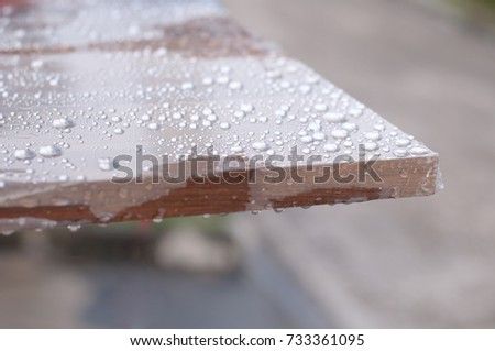 Water Drop On Thick Wooden Board Stock Photo (Edit Now