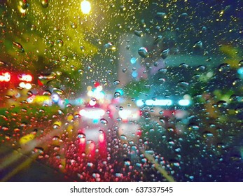 water drop on the windows of car