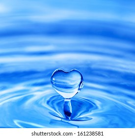 water drop in shape of heart
