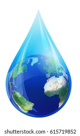 Water Drop World, European and African Globe in a Water Droplet - Earth in water drop, Elements of this image furnished by NASA