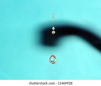 water droplets from the faucet