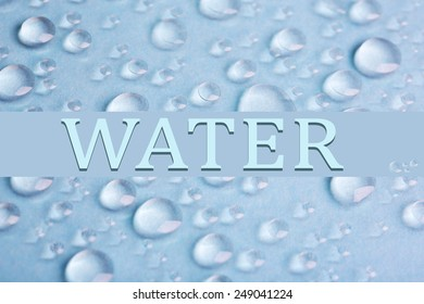 Water droplets on color background
