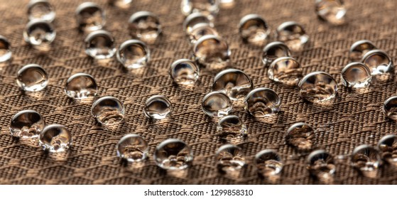 Water droplets on moisture resistant fabric Close up