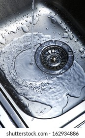 Water and droplets in sink
