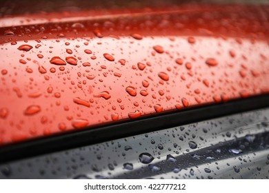 Water drops collect on red metallic car roof