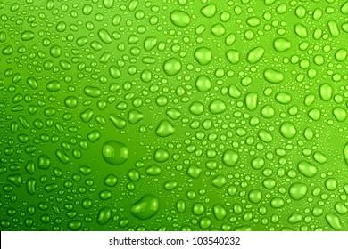 water drops green