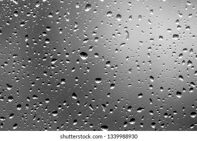 Water drops on glass over dark background
