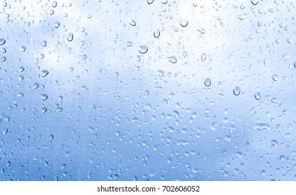Water drops on glass or rain drop