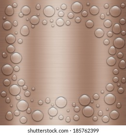 Water drops on metal.Stainless steel background,illustrator