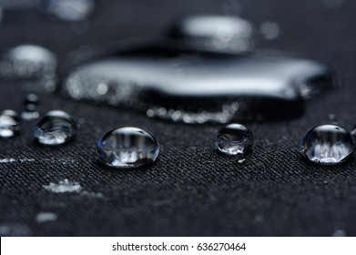 Water Drops on Waterproof Fabric Macro