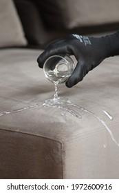 Water drops on waterproof textile material - Waterproof fabric on sofa