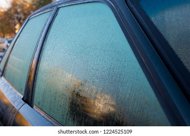 water drops on a window of the car