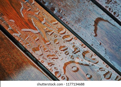 Water drops on a wooden floor surface.Drop of water on wood with raindrop after a rain with copy space.Water resistant painting and Protect hard wood with lacquer.Decor and background Concept.