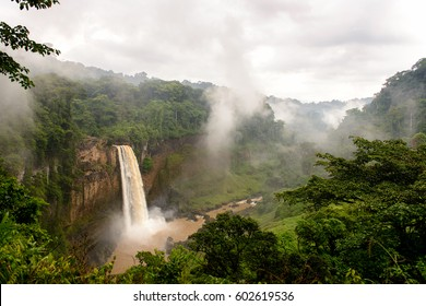 Water fall in Cameroon on a cloudy day