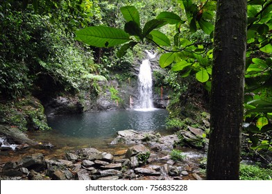Water fall at the Cockscomb Forest Reserve, Belize.