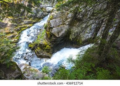 Water fall in Cristian fall area, scene in mt.Rainier National park, Wa