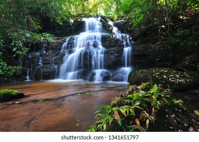 Water fall in deep forest on rainy season